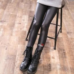 Faux Leather Kids Warm dziewczęce legginsy na zimę dla dziewczynek grube spodnie maluch świąteczne spodnie dziecięce leginsy Bab