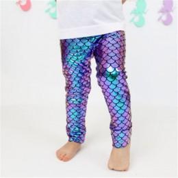 2018 dziewczyny symulacja syrenka śliczne spodnie legginsy kolorowe druk cyfrowy lato styl dziecko legginsy