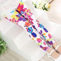 Zima Plus aksamitne pogrubienie legginsy dla dziewczynek spodnie kwiatowy Print jesienne dziewczyny szczupłe ciepłe spodnie odzi