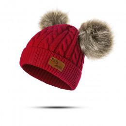 Nowy czapka zimowa chłopcy dziewczęta czapki z dzianiny grube dziecko śliczne włochata piłka czapka niemowlę maluch ciepła czape