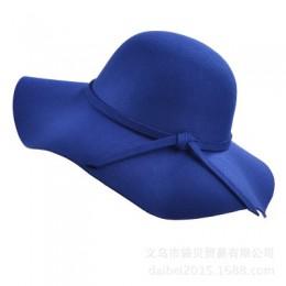 BINGYUANHAOXUAN damski 2018 jesienny kapelusz fedora Vintage imitacja wełny z Bowknot i szeroki kapelusz z opadającym rondem