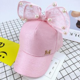 Śliczne dzieci czapka z daszkiem wiosna lato dzieci czapka z daszkiem dziewczyny Snapback Hip Hop czapki ucho królika perła duża