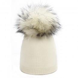 Dziecięca czapka dzianinowa czapka farbująca szop futrzany pompon Pom czapka zimowa chłopiec dziewczyna ciepłe Skullies Bone mar