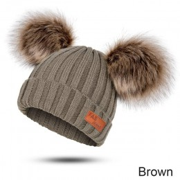 New Arrival zimowa beanie z dzianiny kapelusz dla dziewczynek ciepłe Skullies & czapki z dzianiny kapelusz dziecko futro nasadka
