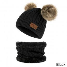 Dla dzieci czapka z dzianiny dziewczyna zestaw kapeluszy podwójne futrzana kulka czapka 2 sztuk ciepłe chłopiec wełny kapelusz s