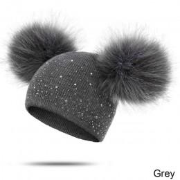 YEABIU zimowe grube czapki dla kobiet mama i dzieci solidna dzianina Casual Unisex ciepła czapeczka Poms czapka zimowa dla dziew