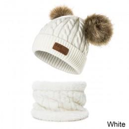 CANCHANGE 2019 czapka zimowa i zestaw szalików chłopiec dziewczyna dzianina jednokolorowa czapka z pomponem gruba czapka dziecię