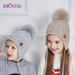 ENJOYFUR wiek 2-8 czapka dla niemowląt czapki zimowe dziecięce dla dziewczynek i chłopców bawełna grube ciepłe dzianiny uszy cza