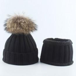 Dzieci chłopcy dziewczęta ciepła polarowa podszewka czapka typu beanie z szalikiem czapki zimowe robione na drutach dla dzieci p