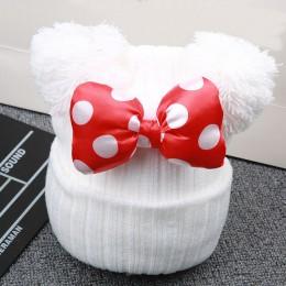 Śliczne cekiny Big Bowknot czapka dla niemowląt wiosna dzianina bawełniana ciepła czapka dla dzieci dziewczyny Cartoon podwójna