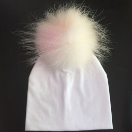 Dziecko bawełniany kapelusz dziewczyna chłopiec 0-2 lata czapeczka niemowlęca dzieci Pom czapka z pomponem dla dzieci ciepły bia