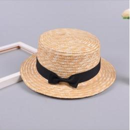 Śliczne dziecko dziewczyny słomkowy kapelusz Bowknot niedz kapelusz dzieci duże rondo plaża lato Boater plaża wstążka okrągły pł