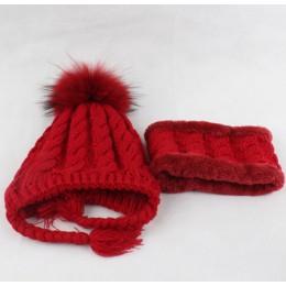 Futrzana czapka z pomponem dziecięca czapka zimowa z polaru wewnątrz ochrona słuchu czapka szydełkowa ciepła czapka z dzianiny i