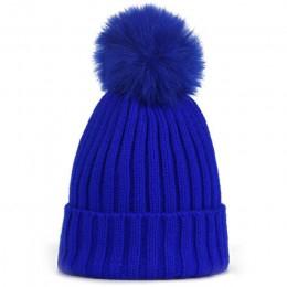 Pompon futrzany kapelusz zimowe kapelusze dziecięce Skullies czapki dziecko ciepłe czapki elastyczność czapka dzianinowa czapki