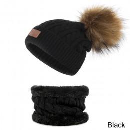Komplet zimowy dla dzieci chłopca dziewczynki czapka komin ciepłe z polarem pomponami modne