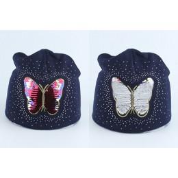 Dziewczyny dziecko czapka zimowa czapka dla dzieci kreskówka motyl cekiny czapka zimowa dzieci ciepłe dzianiny Rhinestone Skulli