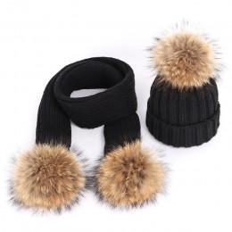 Dzianina bawełniana dla dzieci czapki zimowe ciepłe i wygodne pompon z futra szopa stałe czapki szalik dwuczęściowy maska unisex