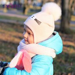 ENJOYFUR czapki zimowe dla dzieci dziewczęta i chłopcy pompon z futra lisa czapka dziecięca bawełna ciepłe dzianiny uszy czapki
