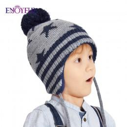 ENJOYFUR zimowe kapelusze dla dzieci dla dziewczynek i chłopców pompon z futra lisa czapki dla dzieci dziecko grube ciepłe dzian