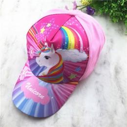 Regulowany jednorożec nadruk tęczy dzieci letnie czapki przeciwsłoneczne sportowe czapki baseballowe Kid Party prezent śliczne r