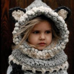 Zimowe dzianiny zagęścić czapki dla dzieci zima snowboard urocza czapka fox wełna szalik kominiarka funny bonnet enfant nieforma