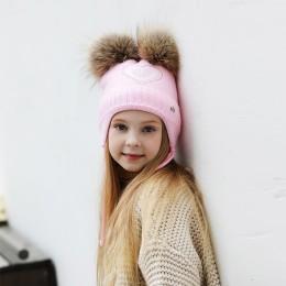 W kształcie serca dżetów czapki zimowe dla dziewczynek grube dzianiny bawełniane uszy kapelusz dziewczyna pompon czapki dzieci c