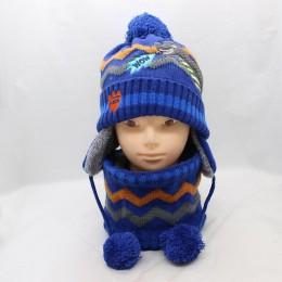 Grube ciepłe czapki zimowe chłopiec Skullies czapki zimowe czapki dla chłopca dziewczyna wełniane czapki z szalem kominiarka dzi