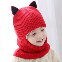 Doitbest 2-6 lat czapka zimowa dla dzieci czapki Plus futro chłopcy czapka dziecięca czapki z dzianiny chroń twarz szyi kid girl