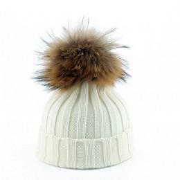 2019 moda dzieci zima duża, futrzana czapki z pomponem dziecko ciepła czapka z dzianiny dla dzieci dziewczyny chłopcy czapka bea
