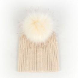 Geebro moda noworodka dla dzieci jednolity kolor prążkowany czapki z pompon ze sztucznego futra nowe dziewczyny chłopcy dzieci m