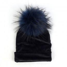 Geebro noworodka dziecko kapelusz Faux pompon z futra szopa dziewczyny chłopcy ciepłe zimowe dzianiny aksamitne kapelusz Ins mod