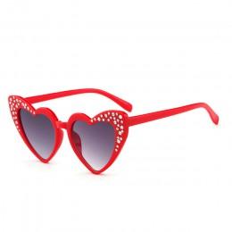 Dziecięce okulary przeciwsłoneczne w kształcie serca chłopcy strasy dla dziewczynek moda miłość okulary dziecięce okulary przeci