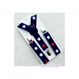 Chłopcy dziewczęta dzieci dzieci maluchy granatowe niebieskie spodnie wzór w gwiazdy y-back metalowe klipsy szelki regulowane el