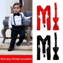 1PC dzieci elastyczne szelki i muszka pasujące Tuxedo garnitur Unisex chłopiec dziewczyna Bowtie dzieci kostium regulowany Y z p