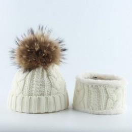 Dzieci czapka zimowa dla dzieci i zestaw szalików prawdziwy szop pompon futrzany kapelusz polarowa podszewka Pom czapka z Pom po