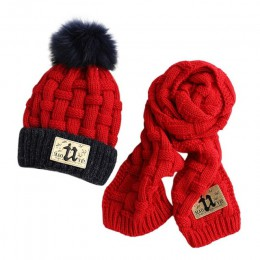 MISSKY zagęścić pompon czapka z pomponem zestaw szalików ciepły zestaw dziewiarski dla dzieci odzież zimowa, jesienna