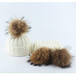 Dzieci prawdziwe pompon futrzany dziergana czapka kapelusze szaliki zestaw garnitur Boys Baby dziewczyny czapki szalik Winter Wa