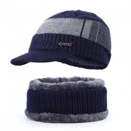 2019 nowych mężczyzna zimowe kapelusz szalik plus aksamitna litery w paski czapka bawełniana na szelkach 2 zestawy mężczyzn i ko