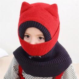 2019 dzianiny z kapturem szalik dzieci kapelusz i szalik dziecko z maską zimowe ciepłe ochrona uszu Cap Circulal szaliki dziewcz