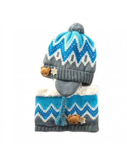 Unisex dziecko czapki zestaw czepków dzieci Cartoon wzór ze zwierzętami pasek dzianiny dodaj aksamitny kapelusz i szalik ciepły