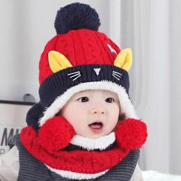 Doitbest od 1 do 4 lat stare kreskówki kotek aksamitna wełny dzieci chłopcy czapki z dzianiny futrzane czapki zimowe 2 sztuk dzi