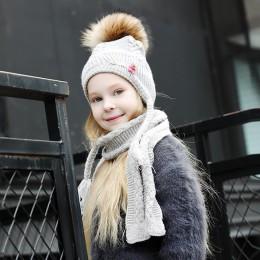 Czapki i zestaw szalików dla dziewczynek chłopcy pompon futrzany wysokiej jakości moda zimowa 2019 Brand New dzianiny szaliki cz