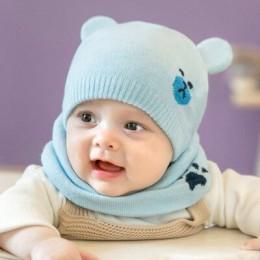 Akcesoria dla dzieci berbeć dziewczyny dziewczyna dziecko kapelusz zimowa beanie z dzianiny czapka kapelusz + szalik 2 sztuk gor