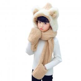 KLV Kids 3 w 1 ciepły pluszowy czapka zimowa śliczny Bowknot niedźwiedź uszy szalik rękawiczki czapka z kapturem