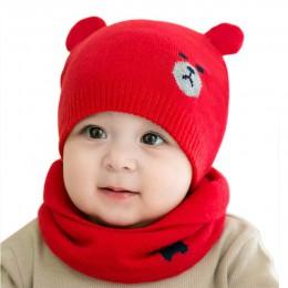 Nowe gorące czapki zimowe dla dzieci szalik garnitury ciepłe czapka Beanie z dzianiny uroczy niedźwiadek animowany czapka YAA99