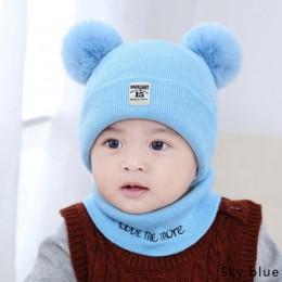 YEABIU śliczne dzieci kapelusz kołnierz garnitur zimowy zestaw dziecięcych szalików knikted czapka beanie szaliki grube dziewczy