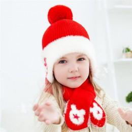 Czapka zimowa dla dzieci i szalik dziecko ciepłe prążkowane Kint zestaw kapeluszy dziecko 2019 dziewczyny chłopcy bawełna warstw