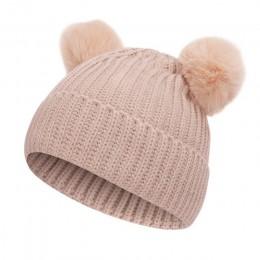 2019 nowy 2 sztuka czapka zimowa kapelusz szalik futro czapka dla niemowląt kapelusz bawełna Pom Pom dzianiny ciepła czapka Kid