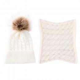 Nowe mody 2 sztuk maluch dziewczynek chłopców stałe zimowe ciepłe czapka beanie z dzianiny + szalik utrzymać ciepło Setsimple pr