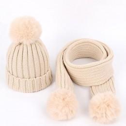 Jesienno-zimowa dziecięca dzianinowa czapka bawełniana ciepłe dziecięce pompony chłopięca uniwersalna futrzana czapka jednokolor